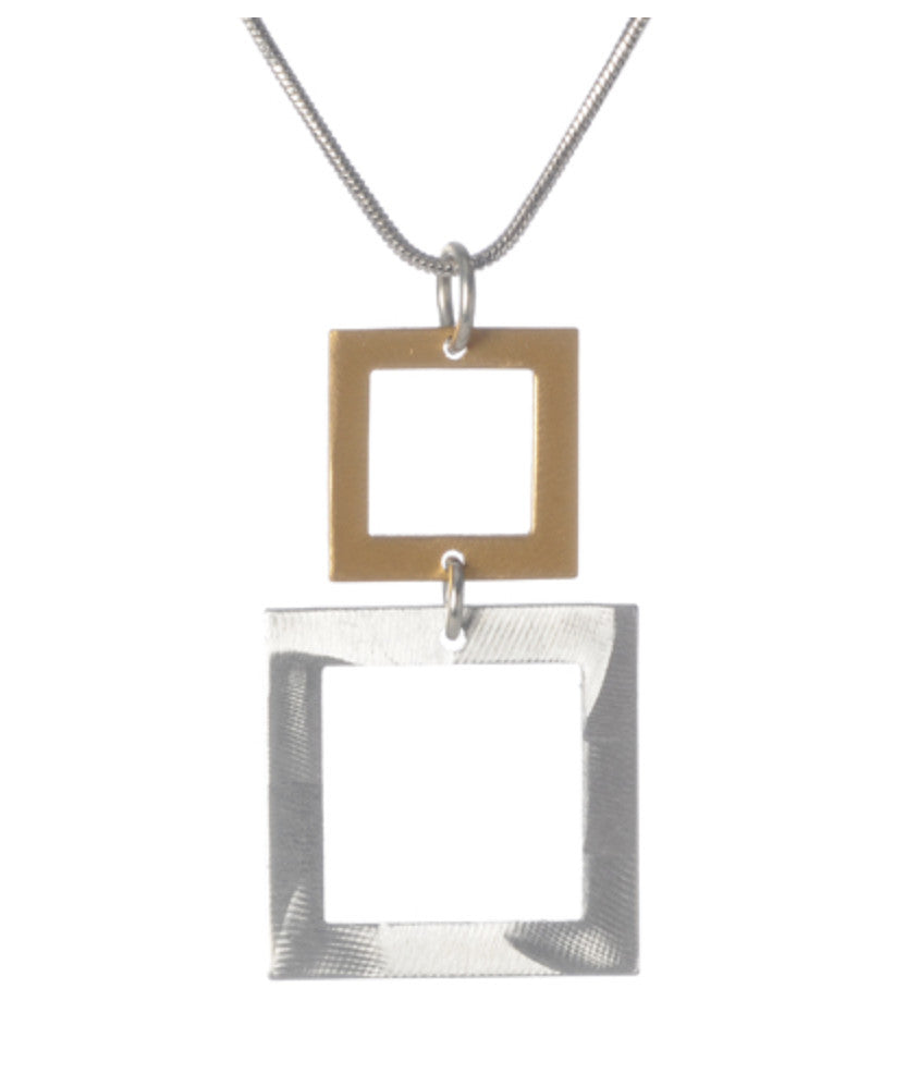 2 Graduated Squares Pendant Necklace