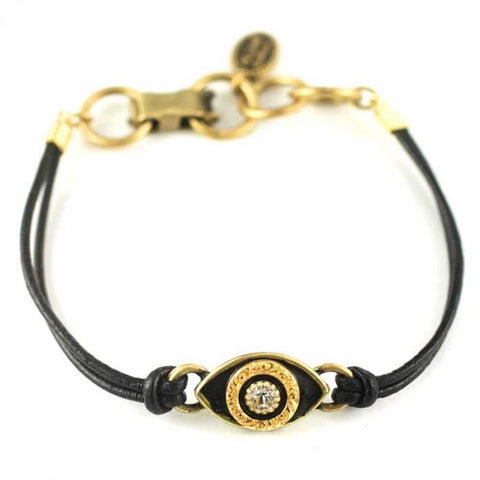 Black and Gold Small Eye Leather Bracelet by Michal Golan