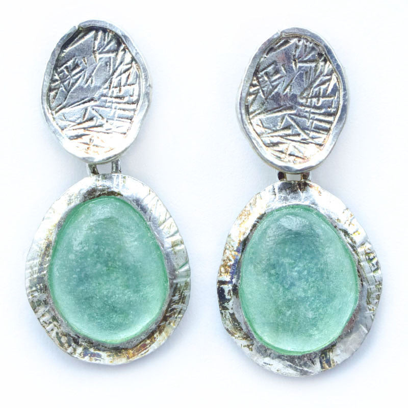 Etched Framed Double Drop Oval Post Washed Roman Glass Earrings