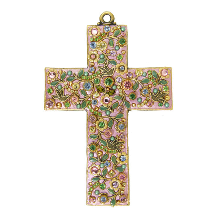 Flowers Pink Large Cross by Michal Golan
