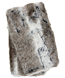 Cuddly in Gray with Birch Luxury Faux Fur Fingerless Gloves