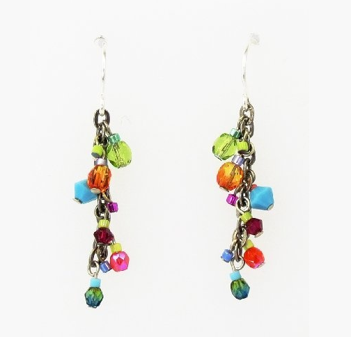 Multi Color Fire Polished Cascade Earrings by Firefly Jewelry