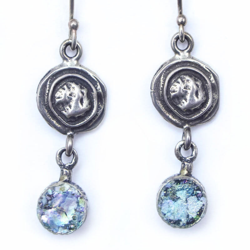 Spiral Dangle with Petite Disc Roman Glass Earrings