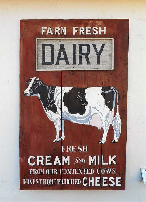 Farm Fresh Dairy Fresh Cream and Milk From our Contented Cows Americana Art