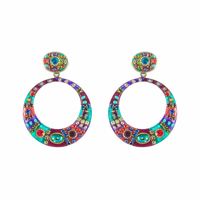 Multi Bright Two Part Design Dangle Round Earrings by Michal Golan