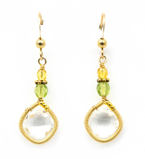 Signature Wrapped Rock Crystal Earrings by Anna Balkan