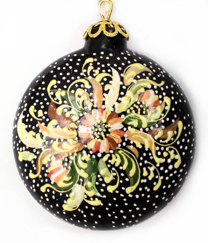 Morning Glow Bouquet Small Round Ceramic Ornament