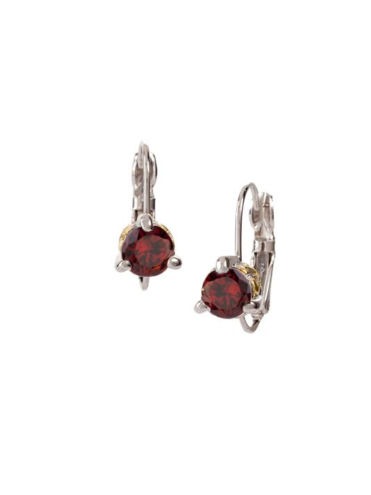 Beijos 6mm Garnet Cubic Zirconia Prong Set Earrings by John Medeiros