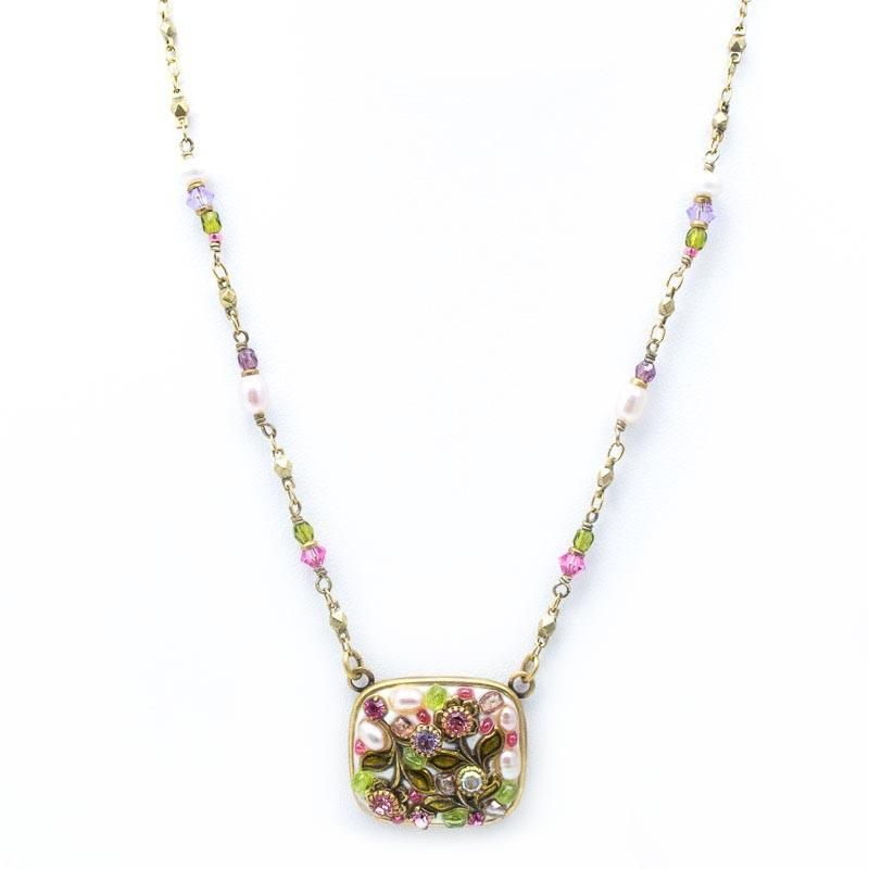 White Flower Square Pendant Beaded Chain Necklace