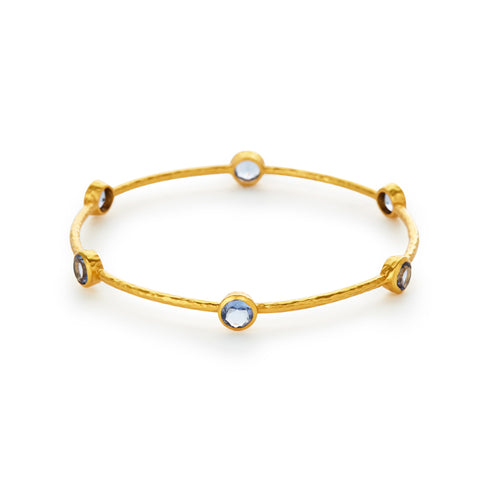 Milano Bangle Gold Chalcedony Blue - Medium by Julie Vos