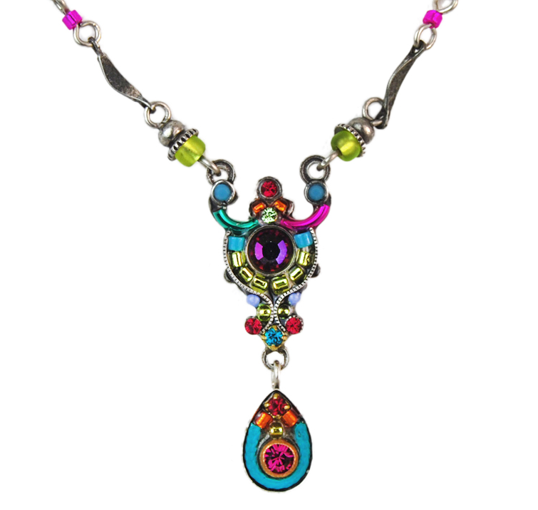 Multi Color Petite Mosaic Necklace by Firefly Jewelry
