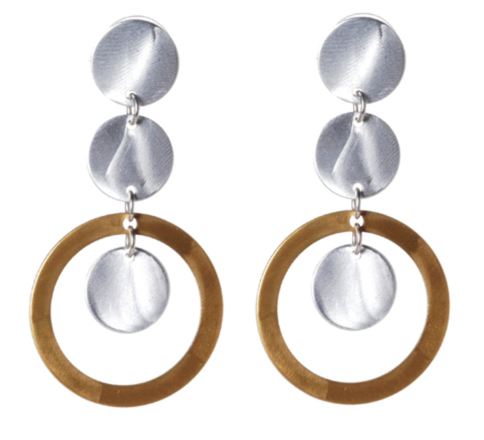 Mix Metal 3 Circle with Large Open Disc Earrings