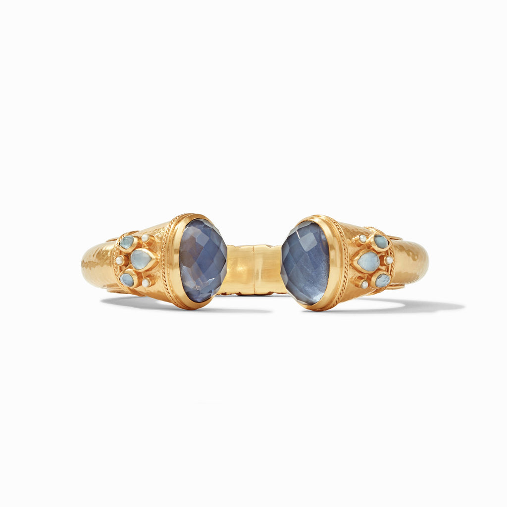 Savannah Hinge Cuff Gold Iridescent Slate Blue Endcaps & Pearl Accents by Julie Vos