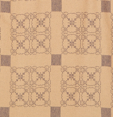 Carriage Wheel Queen Coverlet in Tan with Blue