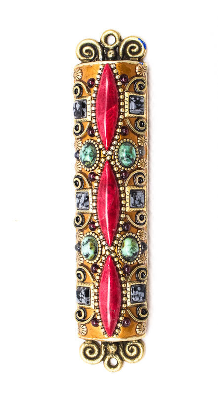 Turquoise and Semi Precious Stone Large Mezuzah by Michal Golan