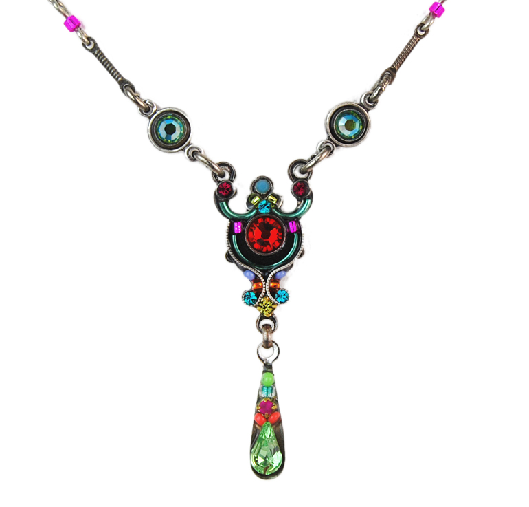 Multi Color Delicate Mosaic Necklace by Firefly Jewelry