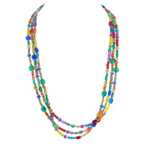 Multi Bright Long Beaded Necklace by Michal Golan