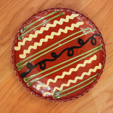 Redware 7'' Plate with Black Swirl Line and Green Lines