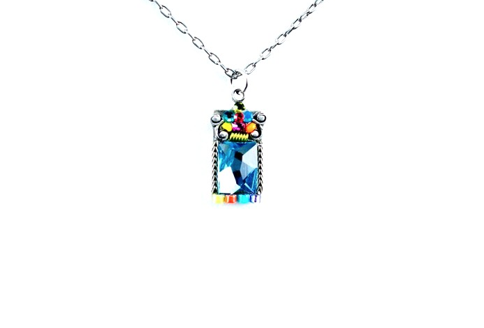 Multi Color Square Mosaic Necklace by Firefly Jewelry