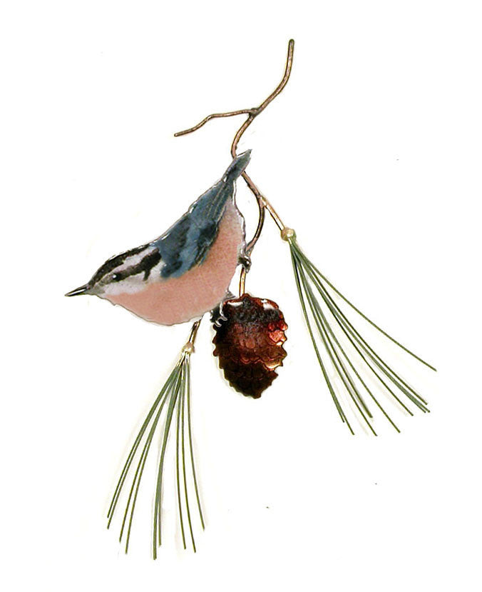Red Breasted Nuthatch on Pine With Pine Cone Wall Art by Bovano Cheshire