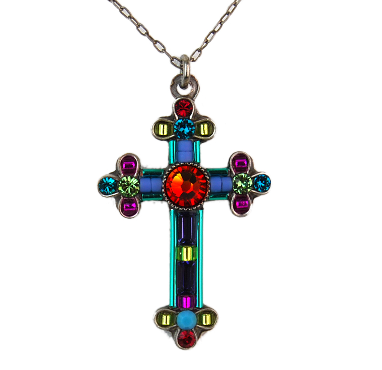 Multi Color Inlay Cross by Firefly Jewelry