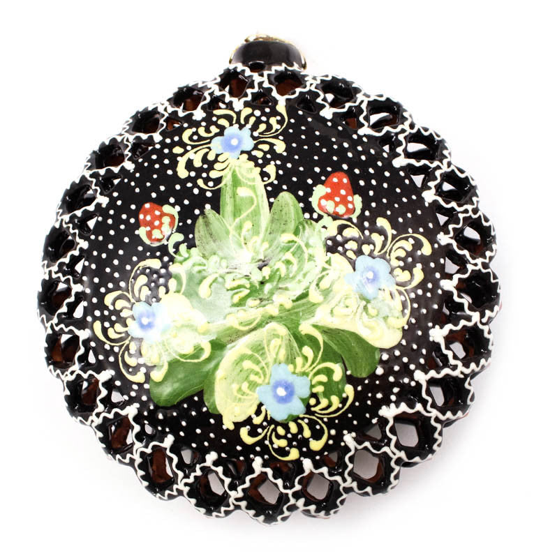 Glistening Pear and Berries Large Cut Out Ceramic Ornament