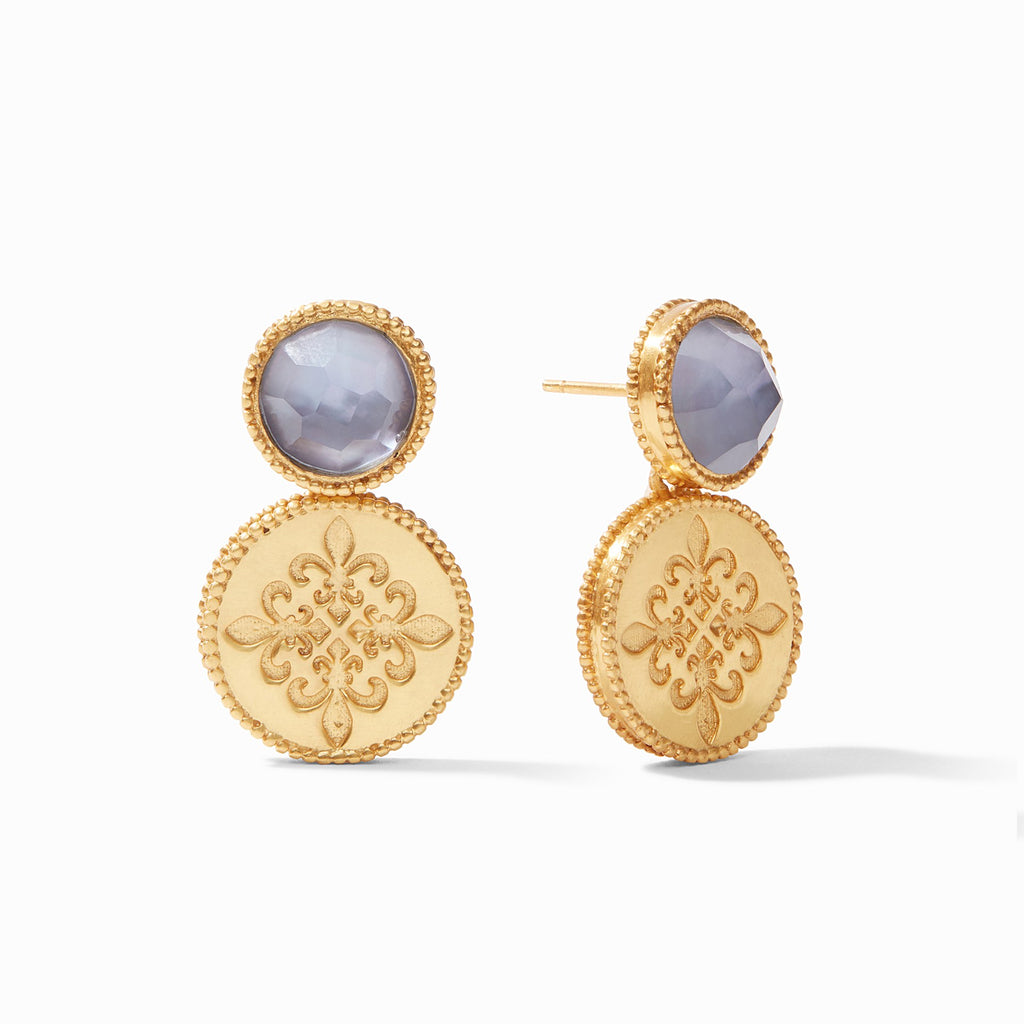 Fleur-de-Lis Earring Gold Iridescent Slate Blue by Julie Vos