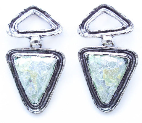 Channel Framed Double Triangle Post Patina Roman Glass Earrings