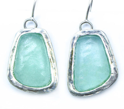 Abstract Rectangle Washed Roman Glass Earrings
