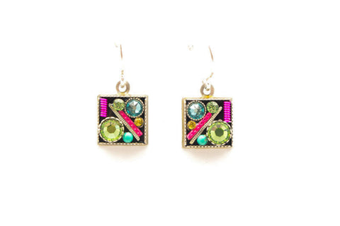 Peridot Square Earrings by Firefly Jewelry