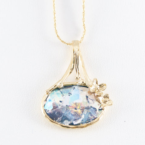 Dainty Delicate Oval Patina Roman Glass Gold Tone Necklace