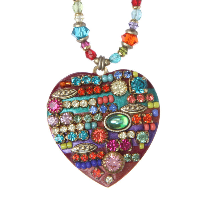 Multi Bright Heart Necklace by Michal Golan