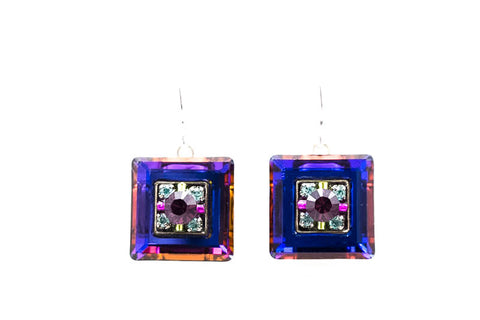 Amethyst La Dolce Vita Crystal Square Earrings by Firefly Jewelry