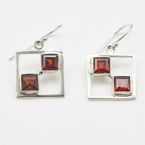 Sterling Silver Square Dangle with 2 Faceted Garnet Earrings