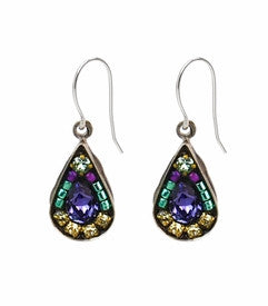 Lavender Mosaic Tear Drop Earrings by Firefly Jewelry