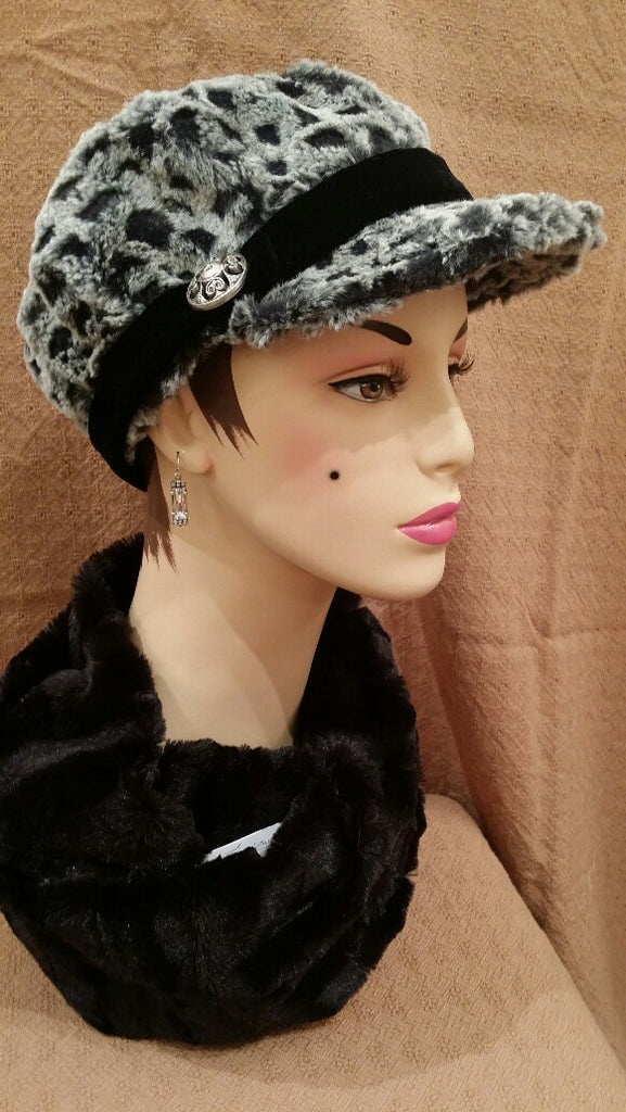Snow Owl Luxury Faux Fur Valerie Hat with Band with Button: Size Large