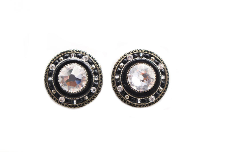 Black and White La Dolce Vita Round Post Earrings by Firefly Jewelry