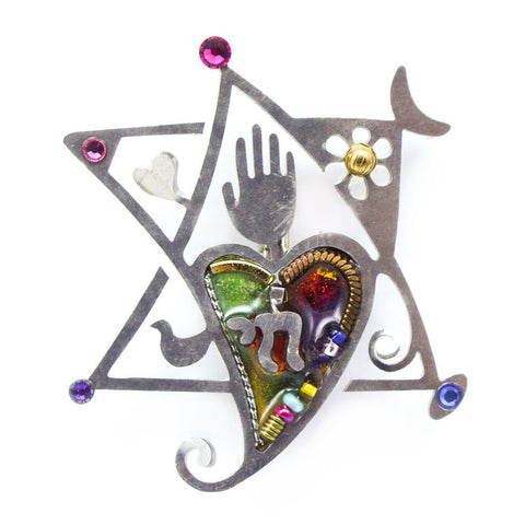 Peace and Love Star Of David Pin