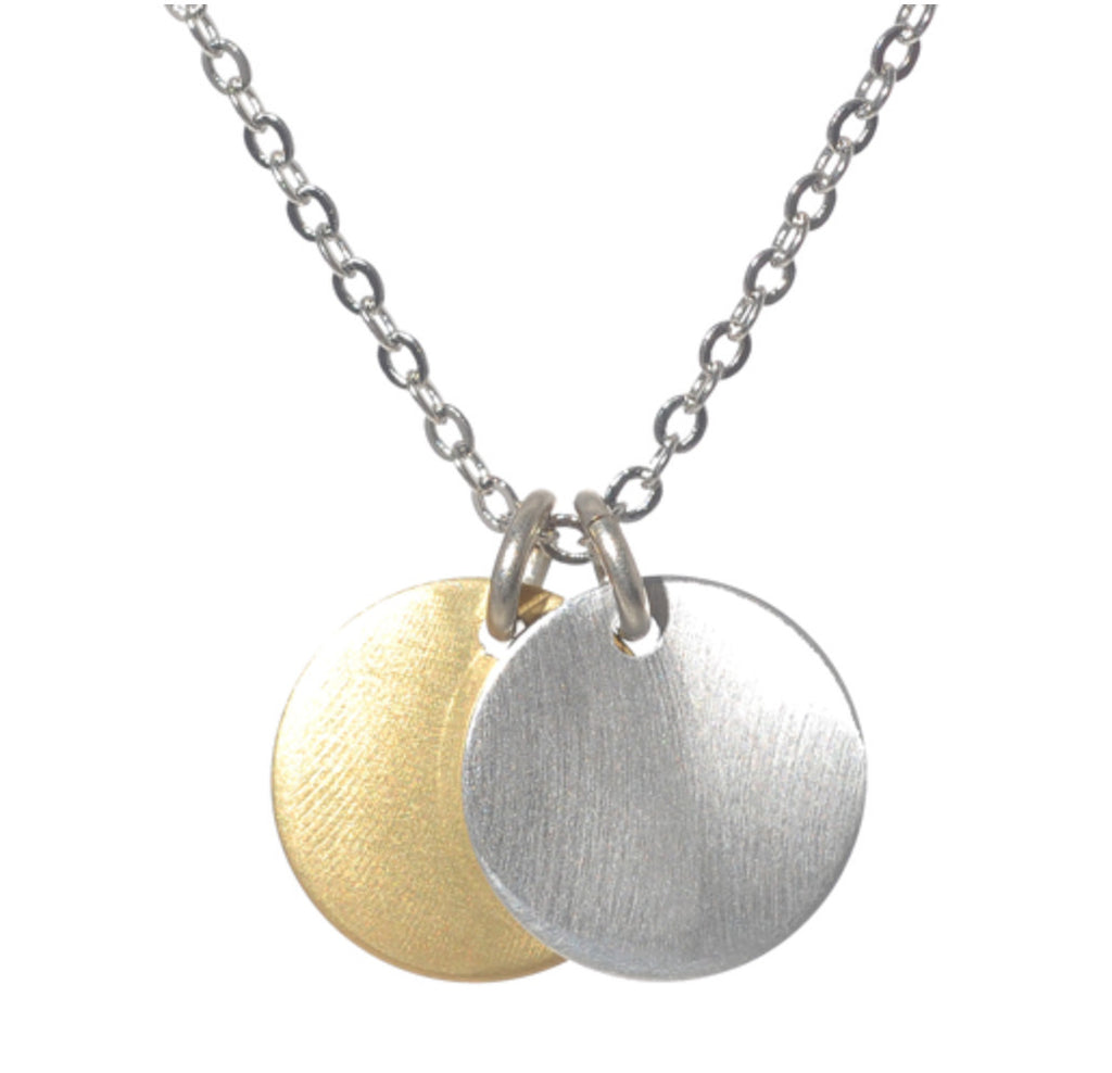 Tiny Double Disc Necklace