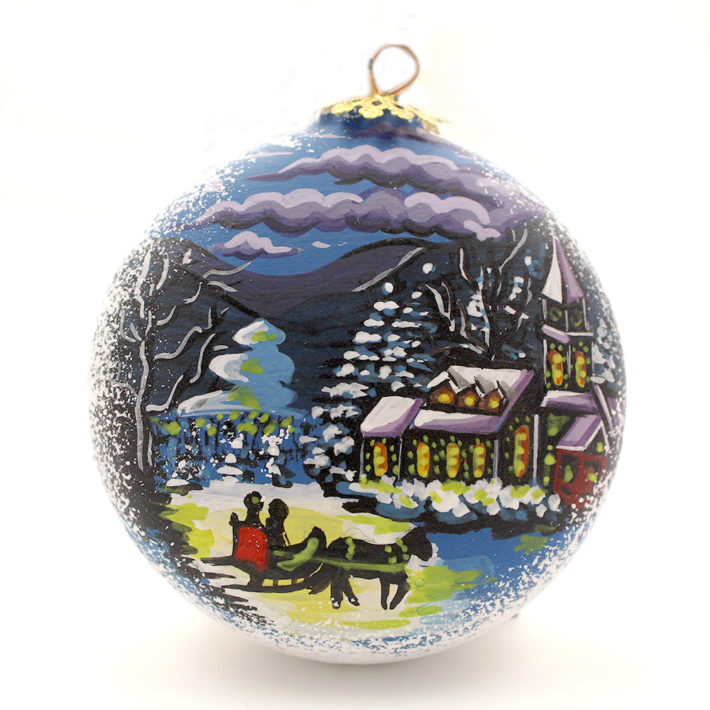 Church with Sleigh on Small Round Ceramic Ornament