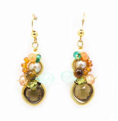 Baby Bella Whiskey Quartz Earrings by Anna Balkan