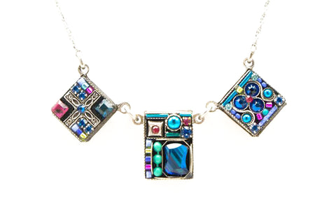 Bermuda Blue Geometric 3 Square Necklace by Firefly Jewelry