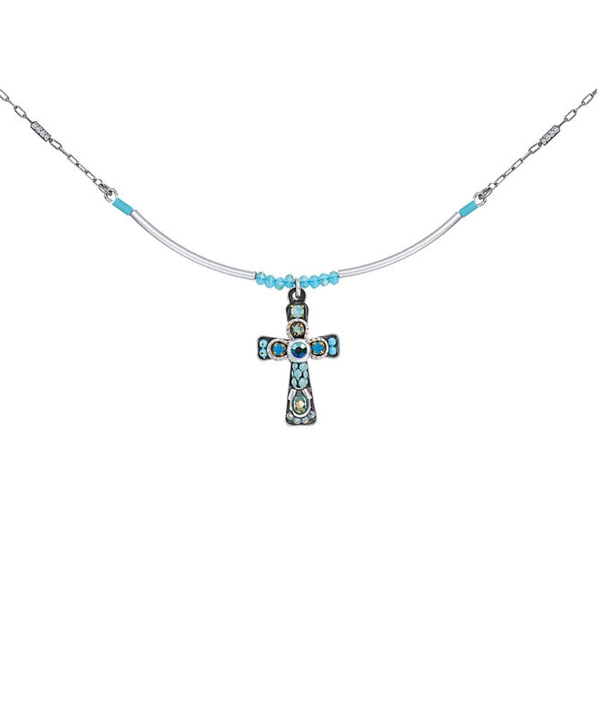 Aqua Small Cross Necklace by Ayala Bar