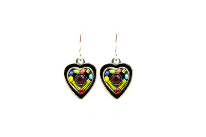 Multi Color Vintage Small Heart Earrings by Firefly Jewelry