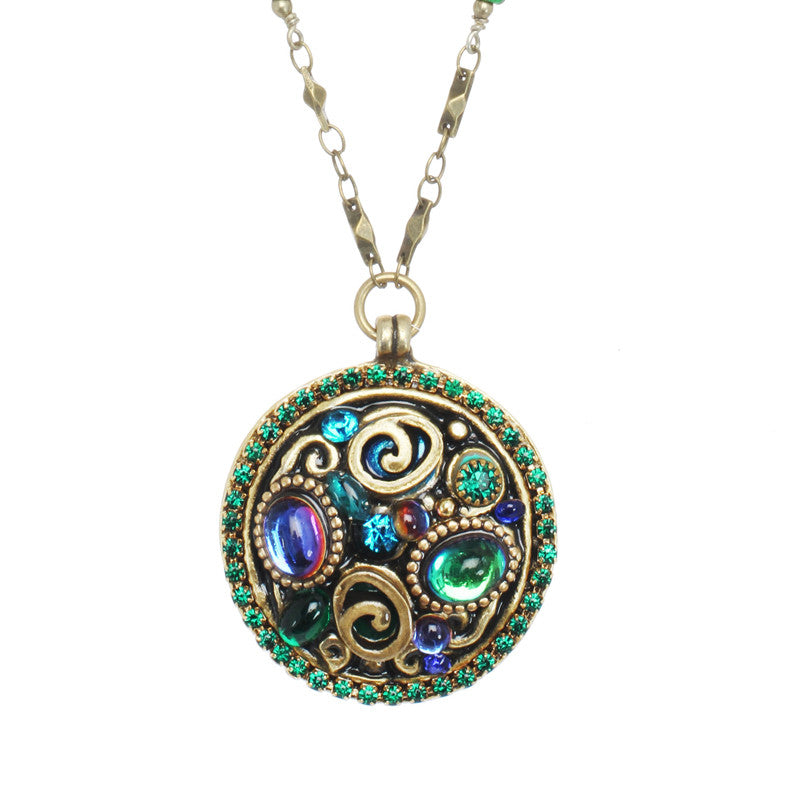 Emerald Round Pendant Necklace by Michal Golan