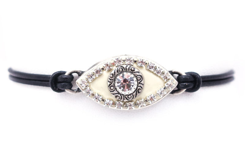Silver and White Crystal Large Eye Leather Bracelet by Michal Golan