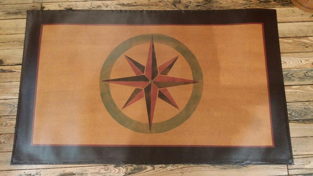 Mariners Compass Floorcloth with Boarder in Antique - Size 32'' x 54''