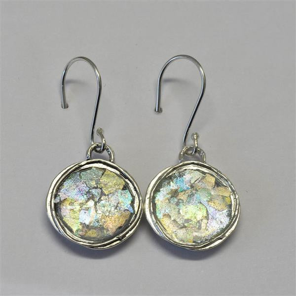 Delicate Framed Round Patina Roman Glass Earrings