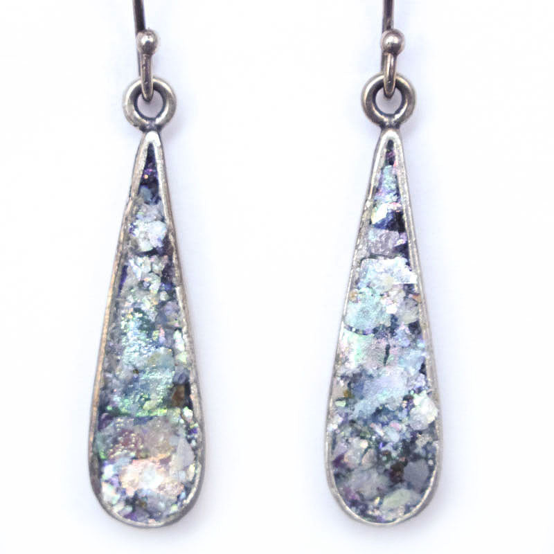 Long Tear Drop Roman Glass Earrings