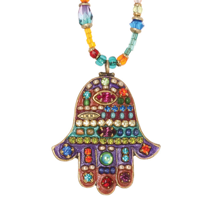 Multi Bright Medium Beaded Hamsa Necklace